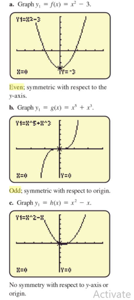 even odd functions representation