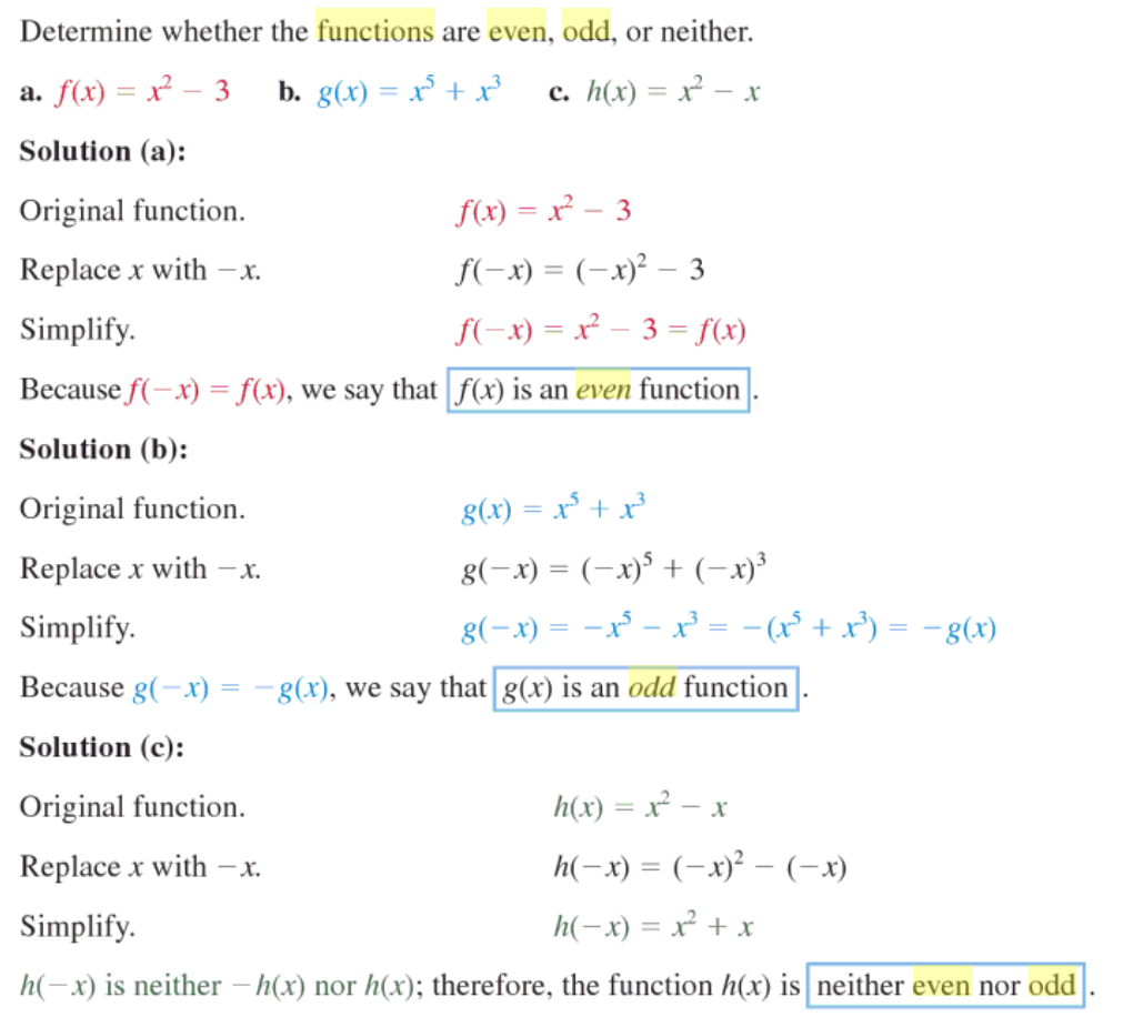 examples of even and odd functions