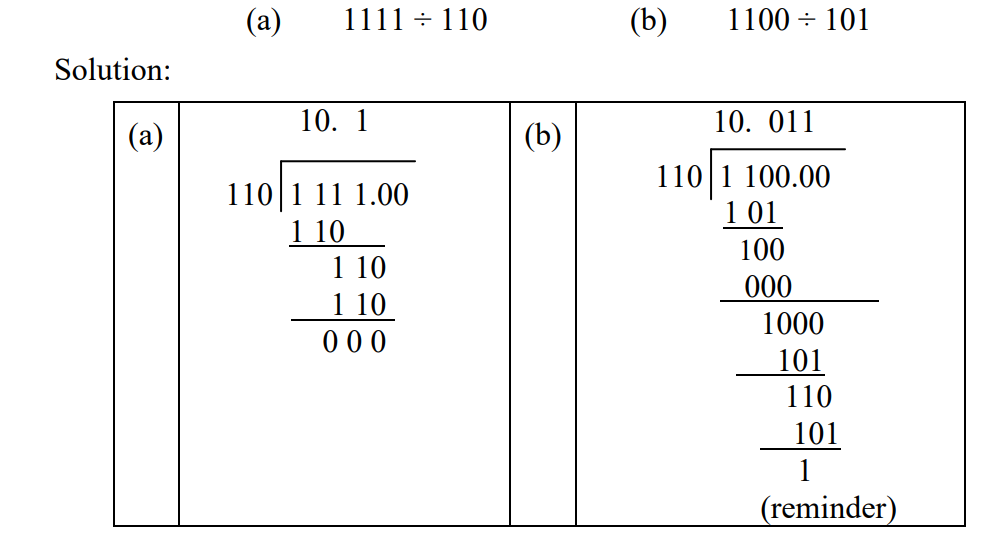 how to divide in binary