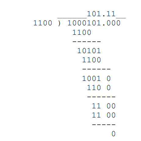 example of decimal binary number division