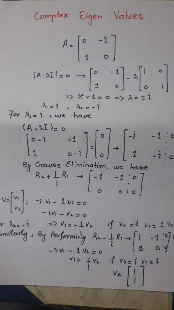 complex eigen values and eigen vectors