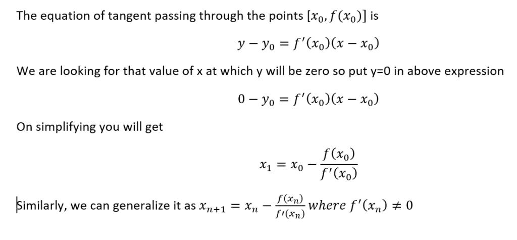 derivation of newton Raphson method