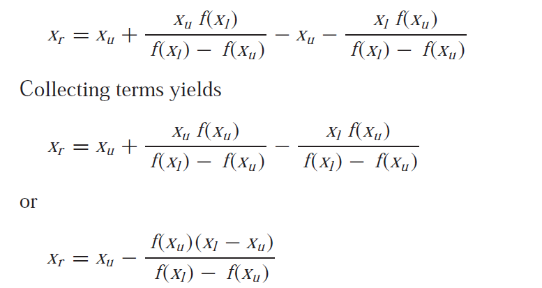 false position method formula