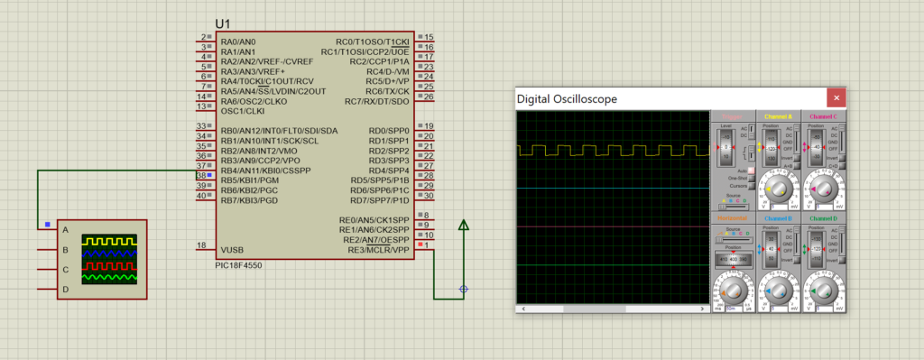 proteus simulation for 50% duty cycle using timer programming in PIC18F4550