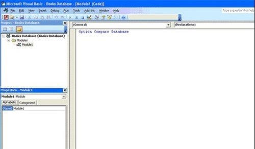 Accessing the Visual Basic Window