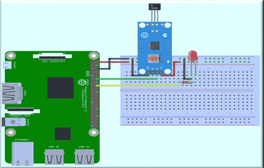connection of hall sensor with Raspberry Pi