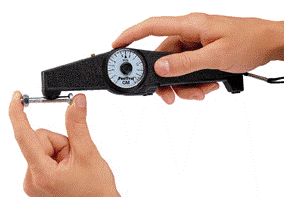 Roll-back dial magnetic pull-off thickness gauge.