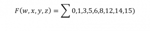 Boolean function as summation of minterms